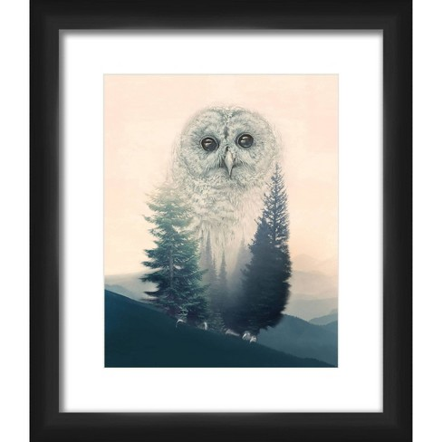 """13"""" x 15"""" Matted to 2"""" Memory Of An Owl Picture Framed Black - PTM Images - image 1 of 4"""