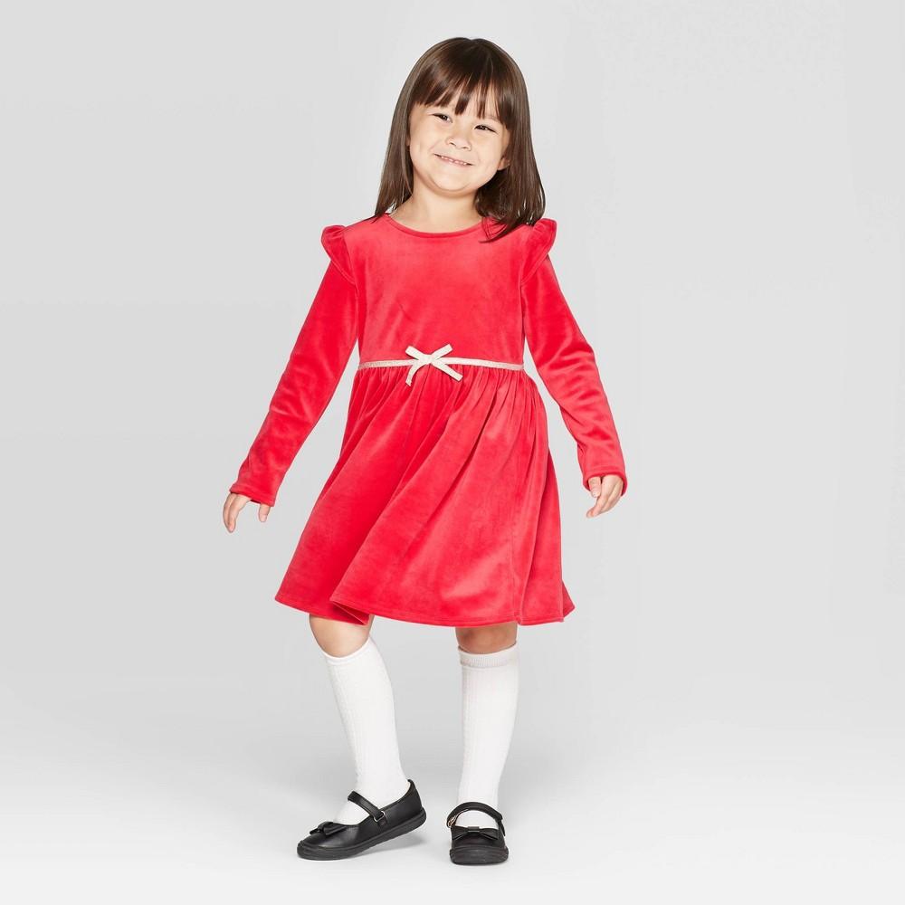 60s 70s Kids Costumes & Clothing Girls & Boys OshKosh Bgosh Toddler Girls Long Sleeve Velour Dress - Red 5T Toddler Girls $19.99 AT vintagedancer.com