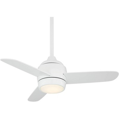 "36"" Casa Vieja Modern Outdoor Ceiling Fan with Light LED Dimmable Remote Control White Damp Rated for Patio Porch"