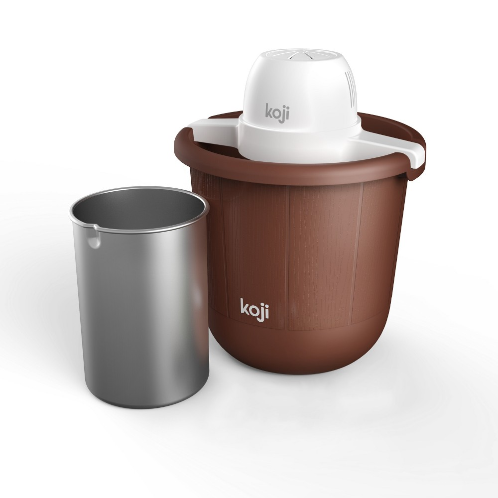 Koji 4qt Bucket Ice Cream Maker - Brown We all scream for the Ice Cream Maker by Koji! Ice cream is right in every way, but it tastes even better when it's homemade. The Koji Ice Cream Maker uses tried and true traditional ice cream making methods (with rock salt and ice) to make 4 quarts of ice creamy goodness. Setup and cleanup is so simple, it's even easier than just licking the bowl. Plus, with a motorized electric crank, you'll keep your scooping arm fresh! Color: Brown.