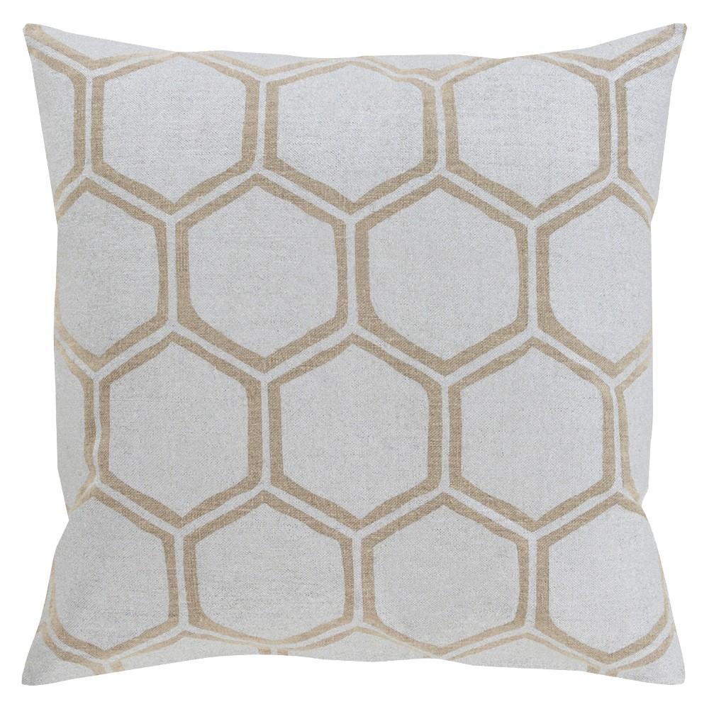 White Linen Beehive Throw Pillow 18