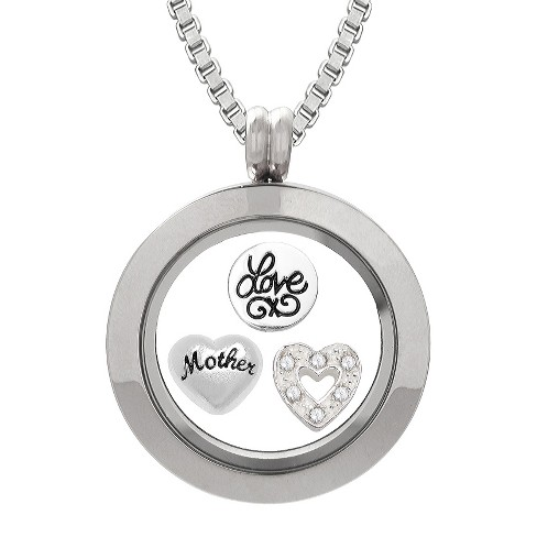 "Treasure Lockets™ Silver Plated ""Mother"" and ""Love"" Heart Charms Locket with Box Chain Necklace - image 1 of 1"