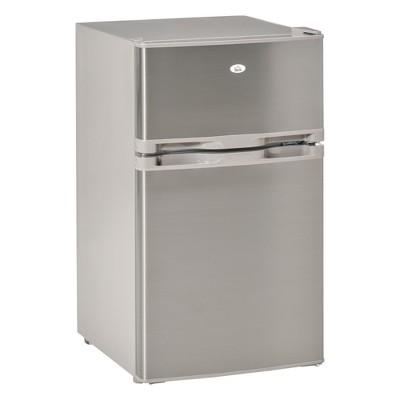 HOMCOM Compact Refrigerator 3 Cu Ft Mini Fridge with 2 Doors Adjustable Temperature Removable Glass Shelves Freezer Reversible Door for Office Motor