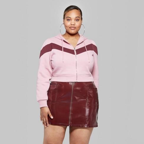 dc4603147833c Women s Plus Size Chevron Zip-Up Fleece Hoodie - Wild Fable™ Mauve Burgundy  4X   Target