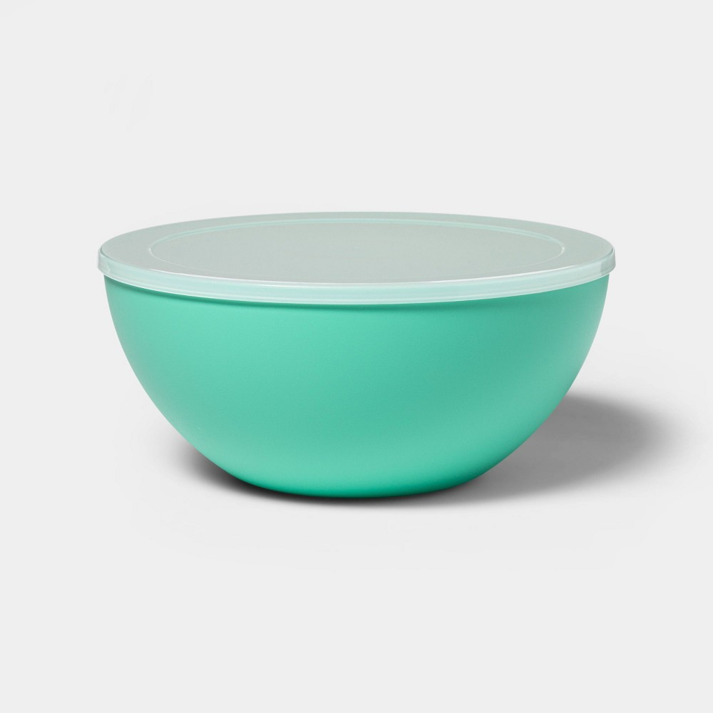 Image of 122oz Plastic Serving Bowl with Lid Green - Sun Squad