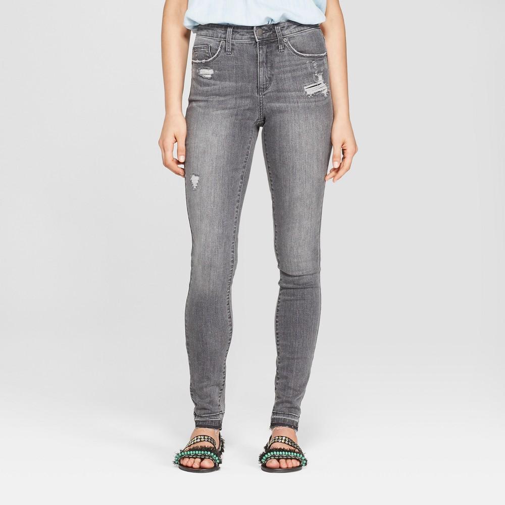 Women's High-Rise Released Hem Skinny Jeans - Universal Thread Black Wash 6 Long