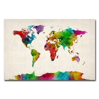 'Watercolor World Map II' by Michael Tompsett Ready to Hang Canvas Wall Art