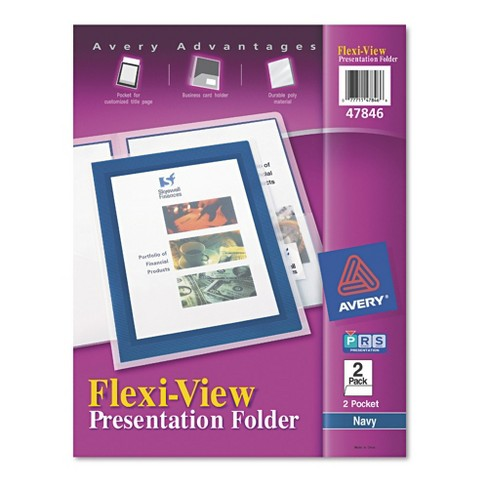 Avery® Flexi-View Two-Pocket Polypropylene Folders, Navy/Translucent, 2/Pack - image 1 of 6