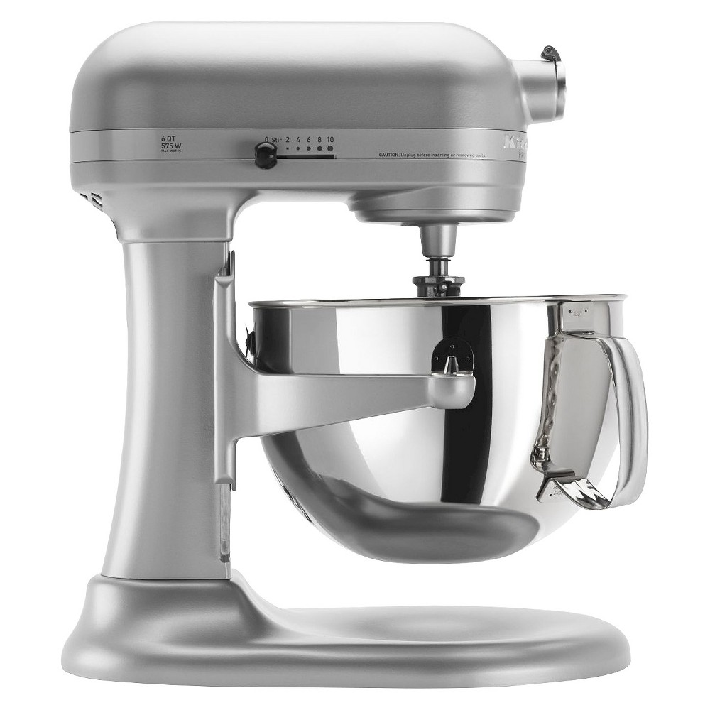 KitchenAid Professional 600 Series 6-Quart Bowl-Lift Stand Mixer - KP26M1X, Nickel Pearl The KitchenAid Professional 600 Series 6 Quart Bowl-Lift Stand Mixer is perfect for heavy, dense mixtures. It also offers the capacity to make up to 13 dozen cookies in a single batch and 10 speeds to thoroughly mix, knead and whip ingredients quickly and easily. For even more versatility, use the power hub to turn your stand mixer into a culinary center with over 10 optional hub powered attachments, from food grinders to pasta makers and more. Color: Nickel Pearl.