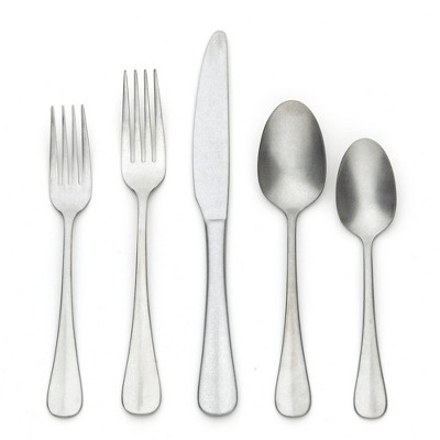 20pc Stainless Steel Rumbled Baguette Silverware Set - Threshold™