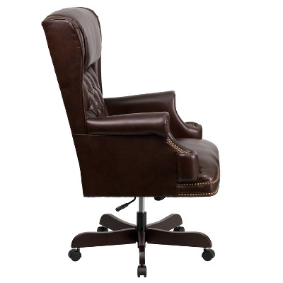 Bon Executive Swivel Office Chair Brown Leather   Flash Furniture