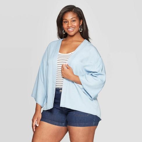Women's Plus Size Kimono - Universal Thread™ Light Blue - image 1 of 2