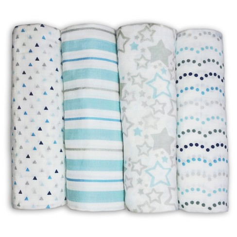 SwaddleDesigns Cotton Muslin Swaddle Blankets - Starshine Shimmer - 4pk - Blue - image 1 of 4