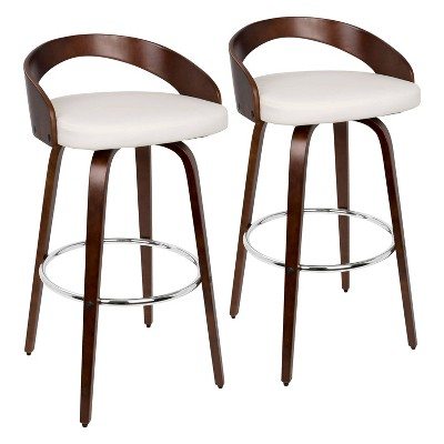 Set of 2 Grotto Mid-Century Modern Barstools with Swivel Cherry/White - Lumisource