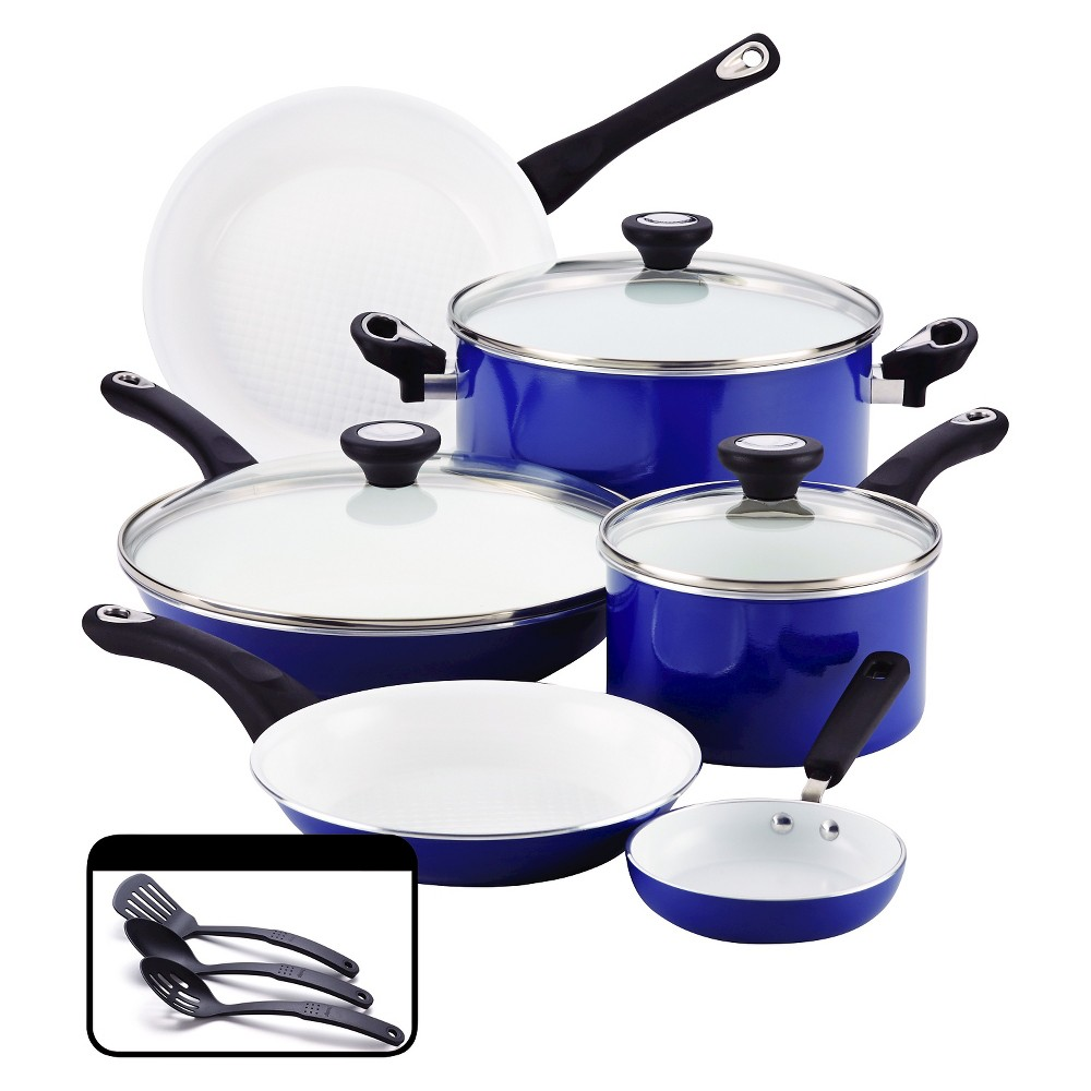 Image of Farberware PURECOOK Ceramic Nonstick Cookware Set - Blue(12Pc)