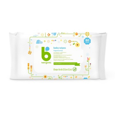 Babyganics Face, Hand & Baby Wipes, Fragrance Free - 80ct