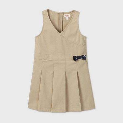 Girls' Uniform Jumpsuit Dress - Cat & Jack™ Beige