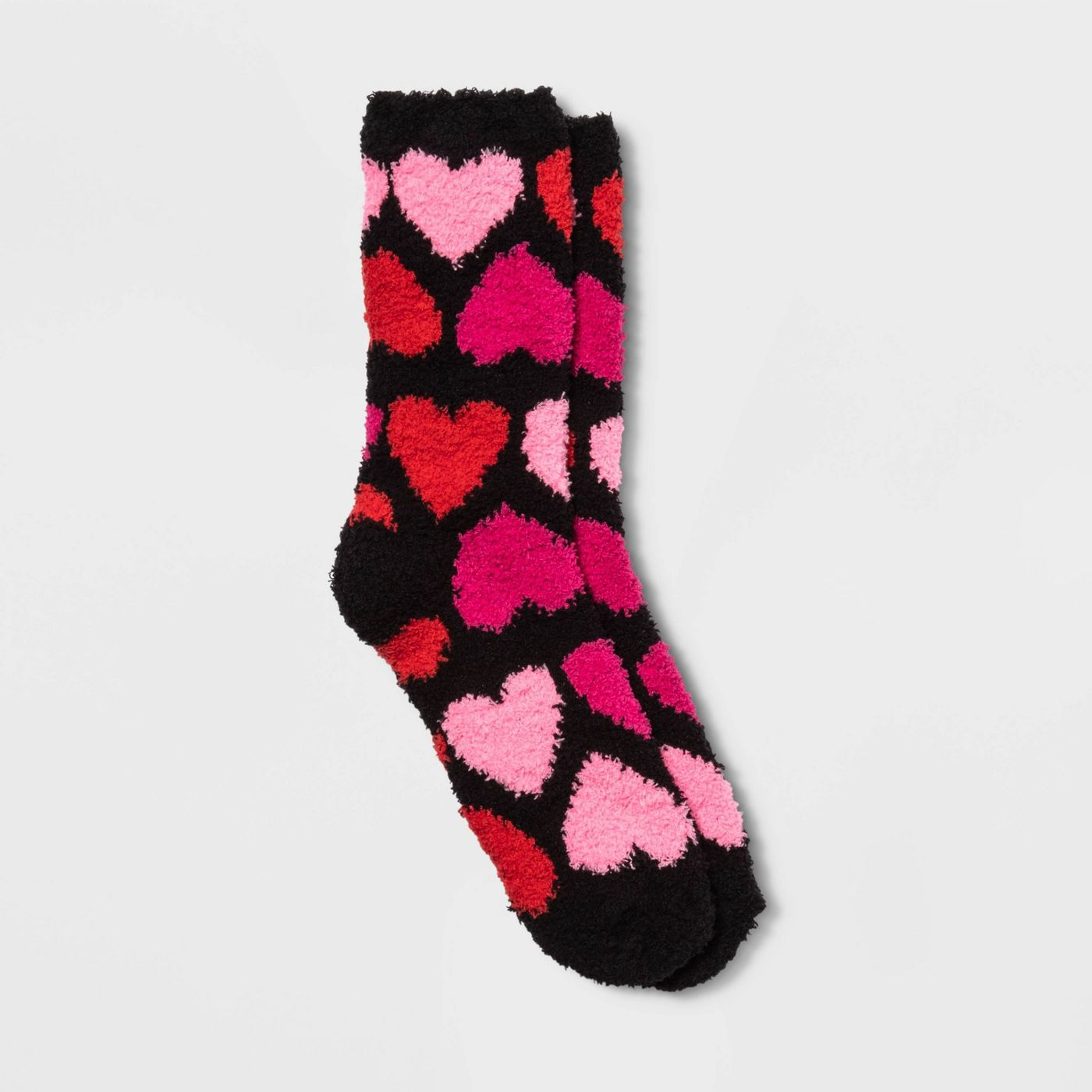 Women's Cozy Big Hearts Valentine's Day Crew Socks - Black 4-10 - image 1 of 4
