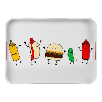 15  x 15  Melamine Dancing Food Decal Serving Tray White