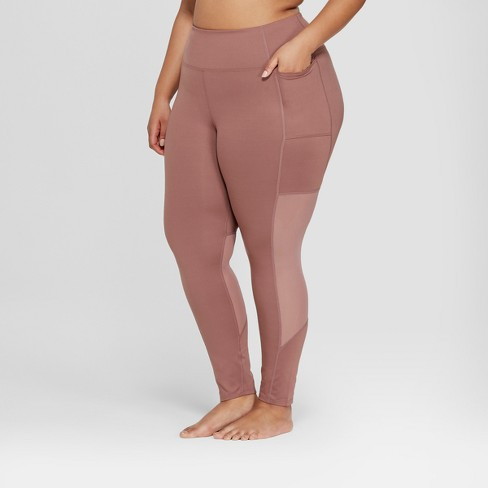 3048742fea8bec Women's Plus Size Comfort 7/8 Mesh Panel High-Waisted Leggings - JoyLab™
