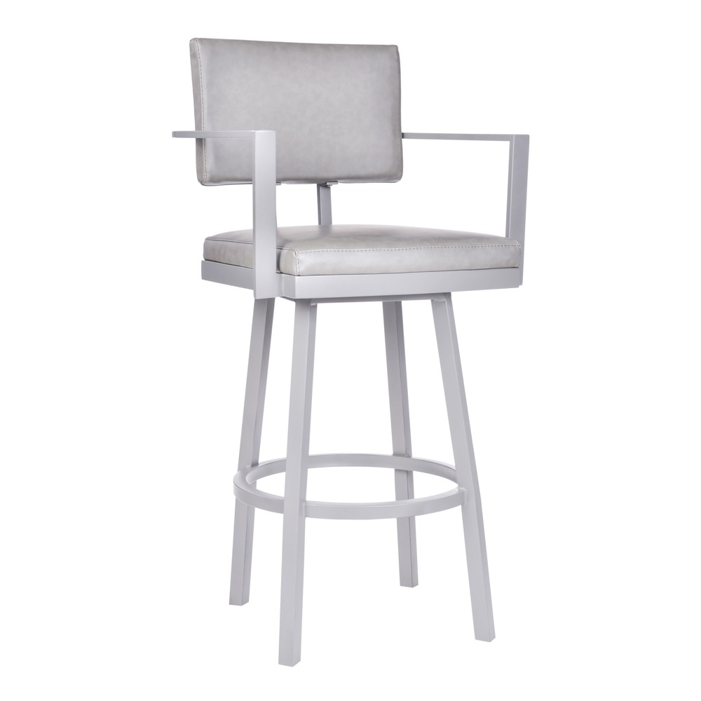 30 Armen Living Balboa Bar Height Barstool with Arms Vintage Gray, Vintage Gray Faux