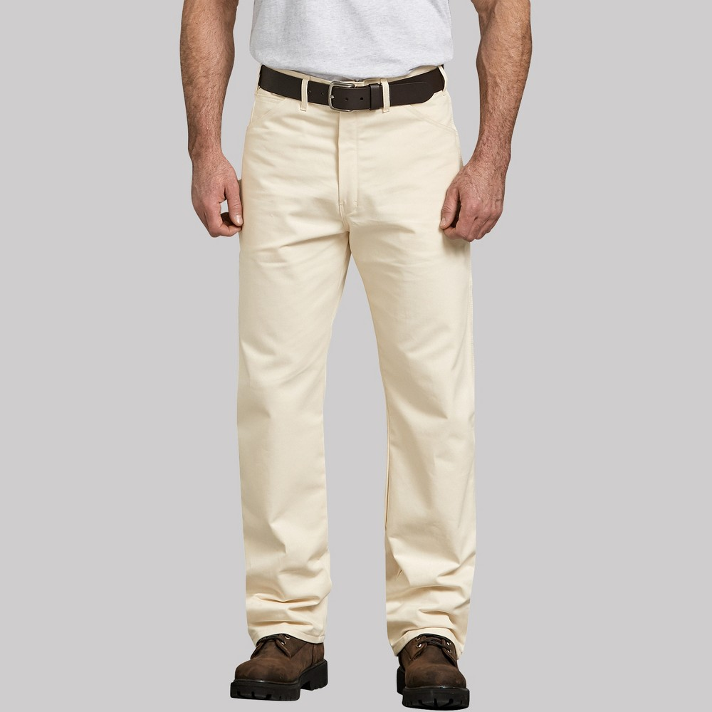 Dickies Men's Big & Tall Relaxed Straight Fit Trousers - Off White 44x30