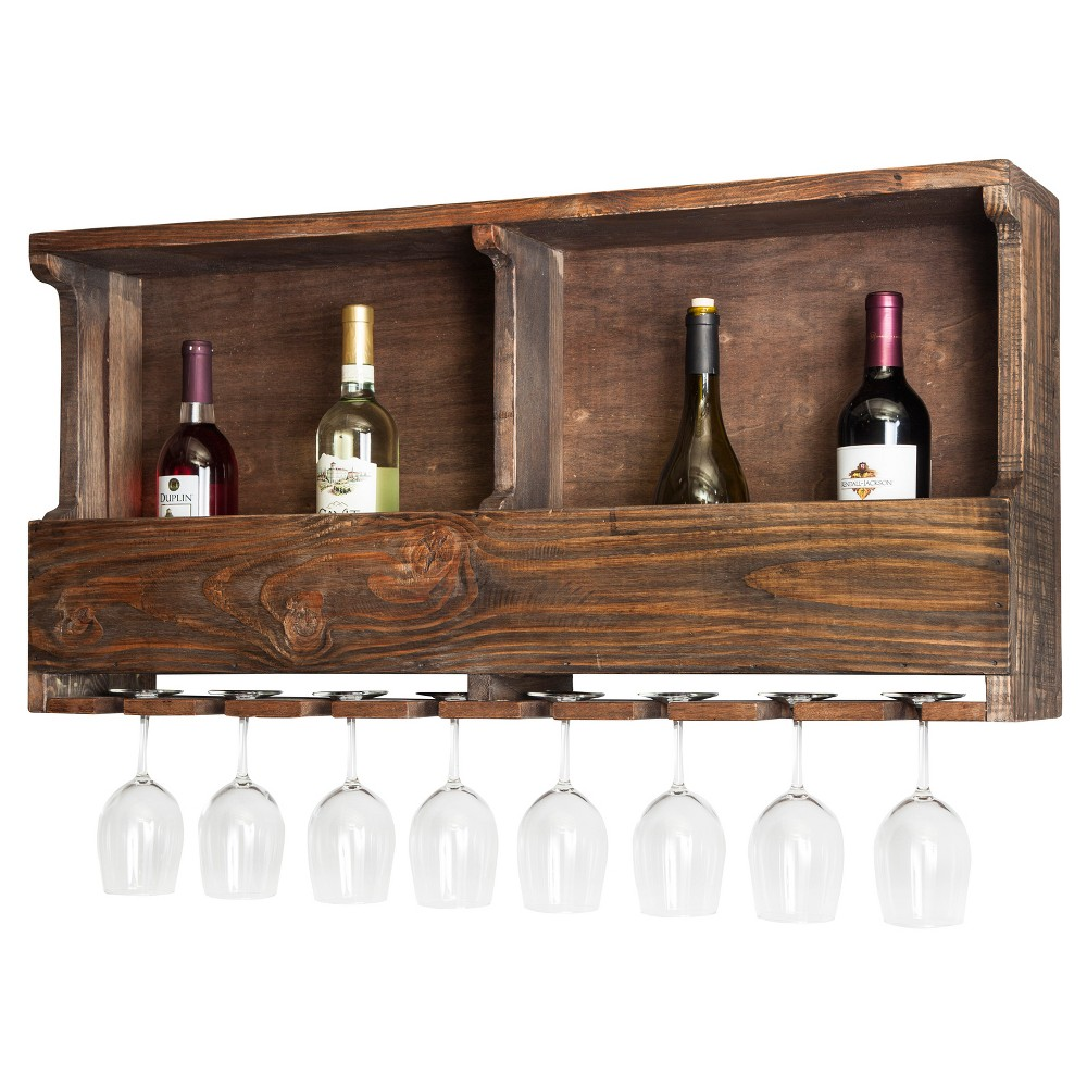 """36"""" Wine Rack Hardwood Brown - Alaterre Furniture 36  Wine Rack Hardwood Brown - Alaterre Furniture"""