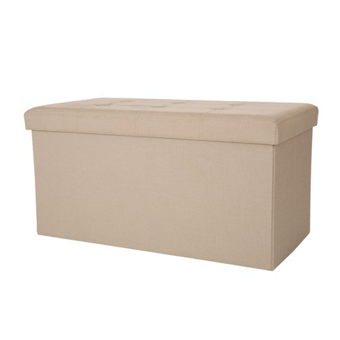 Tufted Linen Foldable Storage Bench - Cream - Glitzhome - image 1 of 5