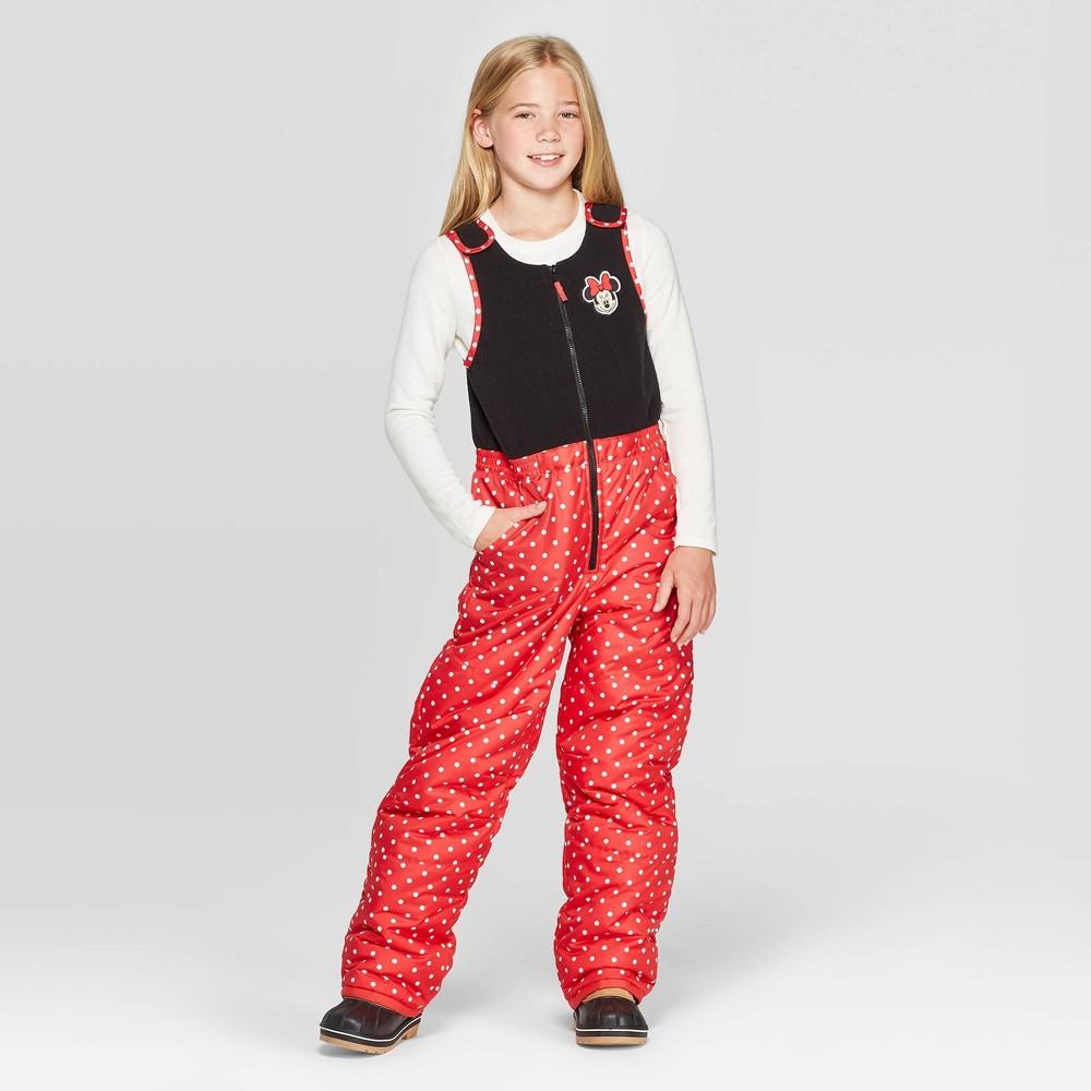 Image of Girls' Minnie Mouse Snow Bib - Red M, Girl's, Size: Medium