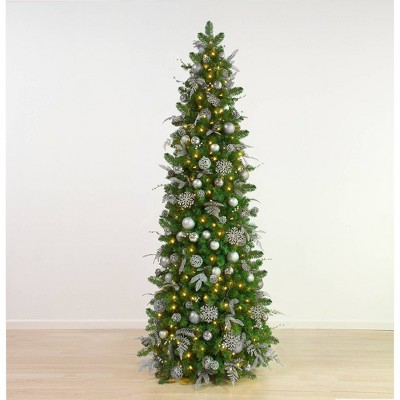 7.5ft Easy Treezy Pre-Lit LED Shimmering Frost Pre-Decorated & Easy Setup Slim Artificial  Christmas Tree