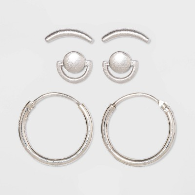Sterling Silver Curve Stud and Hoop Earring Set 3pc - Universal Thread™ Silver