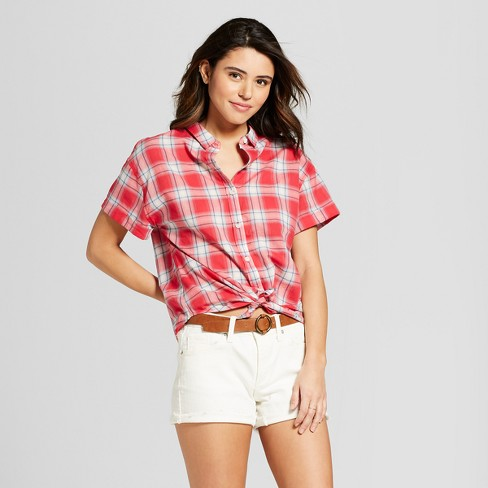 5ea13be870652 Women s Short Sleeve Plaid Button-Down Shirt - Universal Thread™ Red Plaid    Target