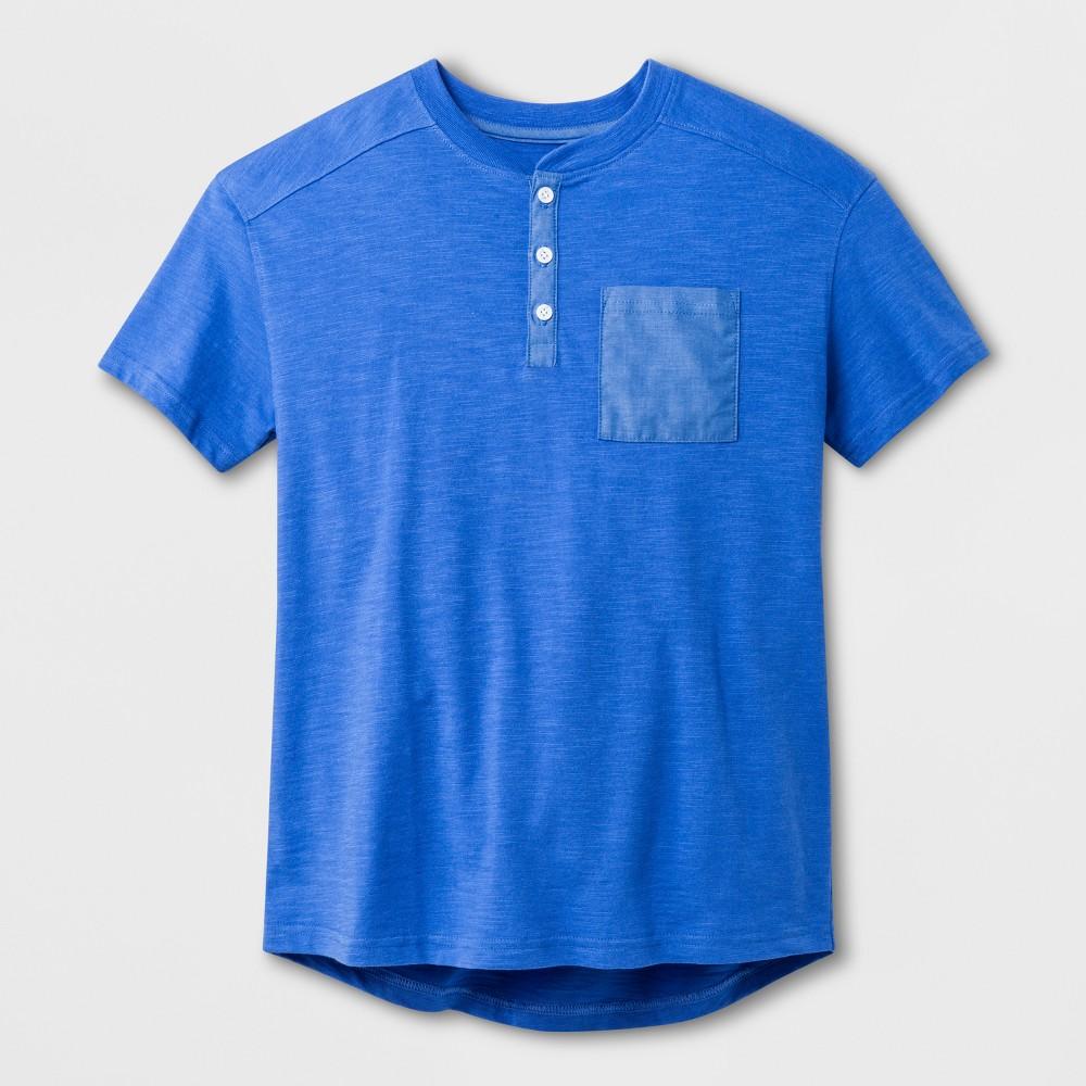Boys' Henley Short Sleeve Shirt - Cat & Jack Blue M