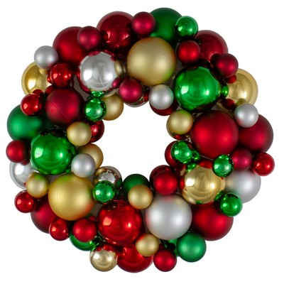 Northlight Traditional Colored 2-Finish Shatterproof Ball Christmas Wreath - 13-Inch, Unlit