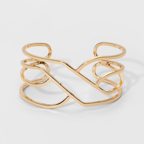 Open Wavy Cuff Bracelet - A New Day™ Gold - image 1 of 1