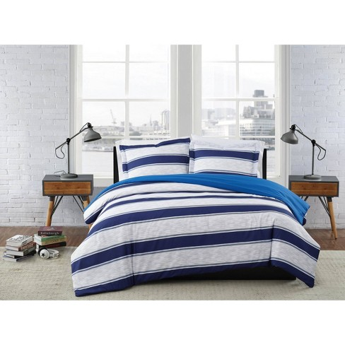 Full/Queen 3pc Watkins Stripe Comforter Set - London Fog - image 1 of 3