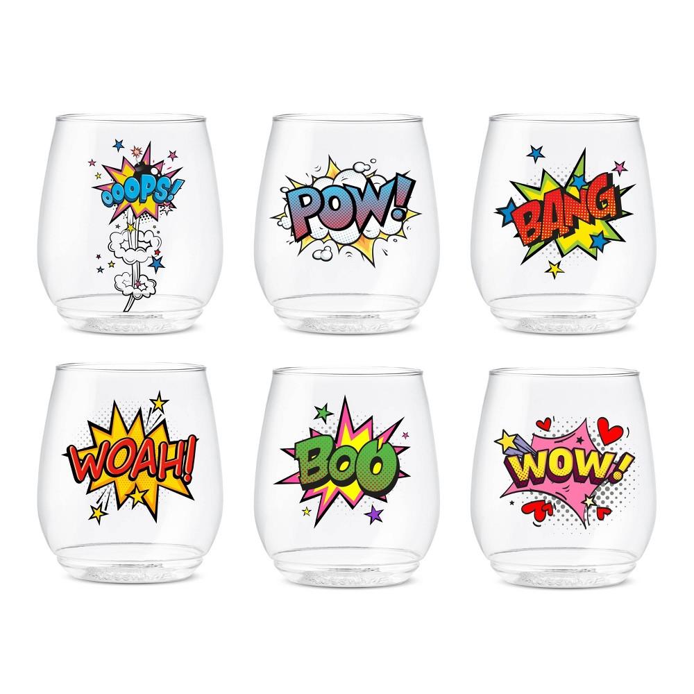 Image of 14oz Pop Art Printed Vino Wine Glasses - TOSSWARE