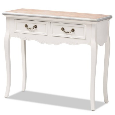 2 Drawer Capucine Two-Tone Natural Whitewashed Oak and Finished Wood Console Table White - Baxton Studio