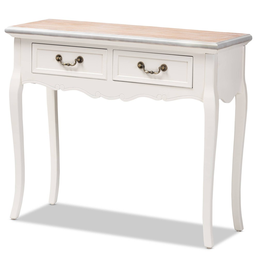 Image of 2 Drawer Capucine Two Tone Natural Whitewashed Oak and Finished Wood Console Table White - Baxton Studio