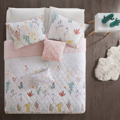 Flora Cotton Coverlet Set Red