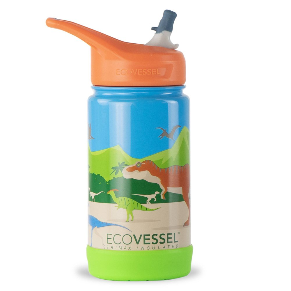 Ecovessel 12oz Frost Insulated Stainless Steel Kids 39 Water Bottle With Straw Top Dinosaur