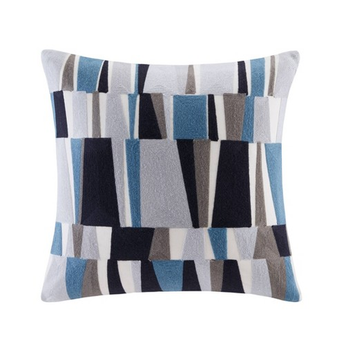 Lars Embroidered Square Throw Pillow Blue - image 1 of 1