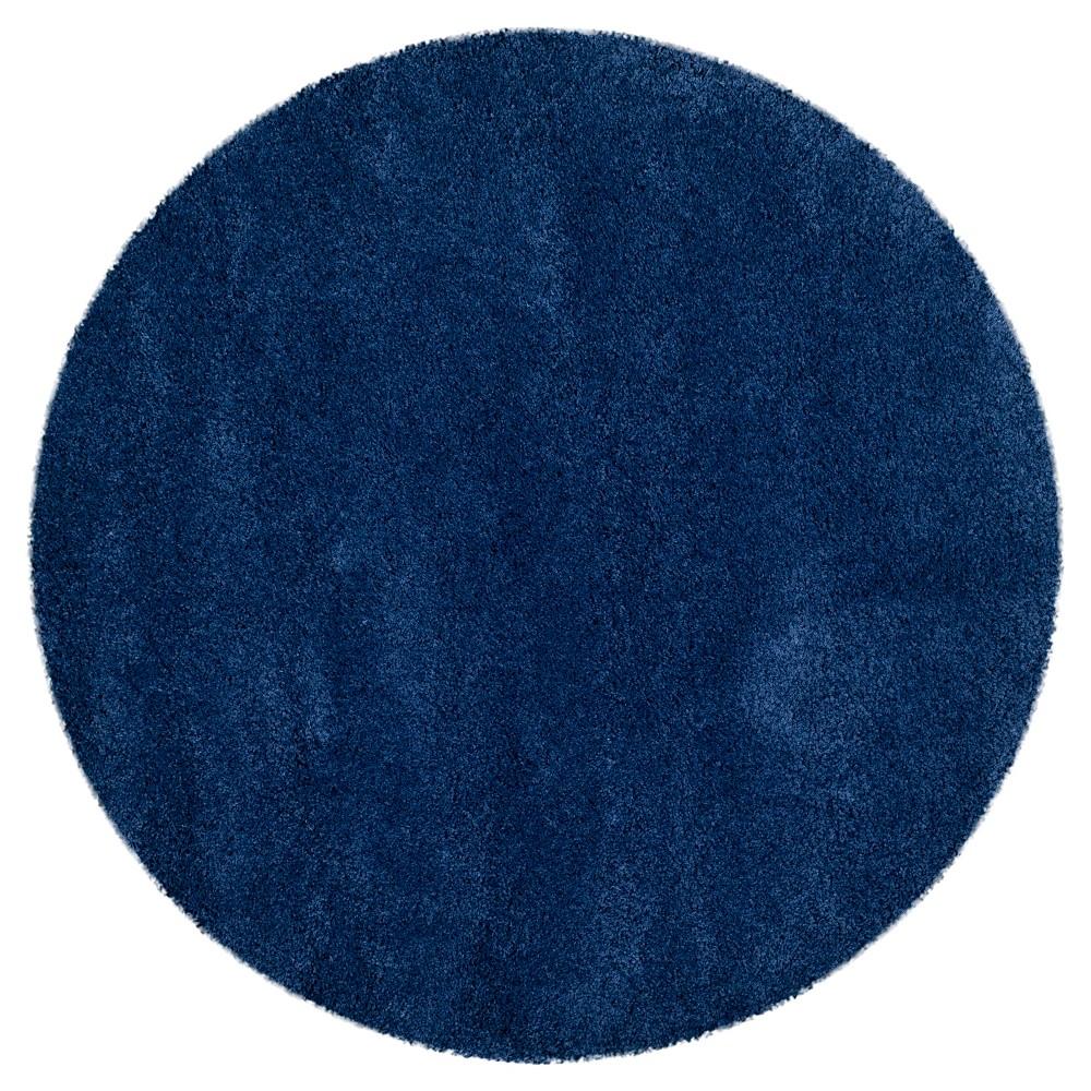 Navy (Blue) Solid Shag/Flokati Loomed Round Accent Rug - (3' Round) - Safavieh