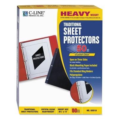 C-Line Traditional Polypropylene Sheet Protector Heavyweight 11 x 8 1/2 50/BX 00010
