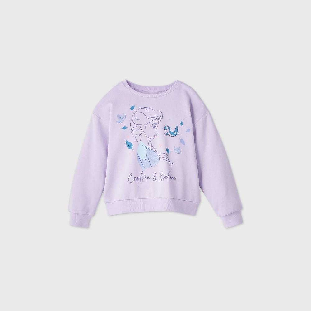 Girls 39 Disney Frozen Elsa 39 Explore 38 Believe 39 Sweatshirt Purple L Plus