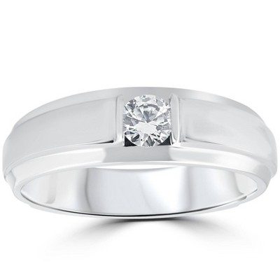 Pompeii3 1/6CT Mens Diamond Solitaire Ring 10K White Gold
