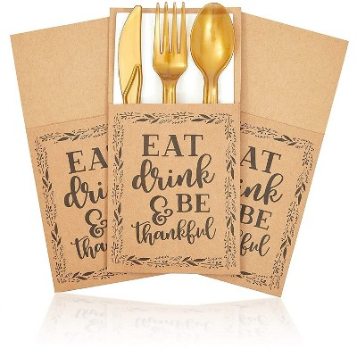 Sparkle and Bash 36 Pack Thanksgiving Dinner Party kraft Utensil Holder Pockets, Eat Drink & Be Thankful