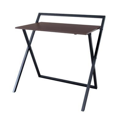 """22"""" Folding Wooden Home Office Computer Desk with Metal Base Natural/Black - Versanora"""
