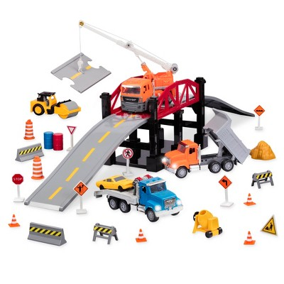 DRIVEN – Construction Playset with Toy Trucks and Bridge (39pc) – Micro Series
