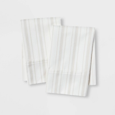 King 400 Thread Count Striped Performance Pillowcase Set White/Gray - Threshold™